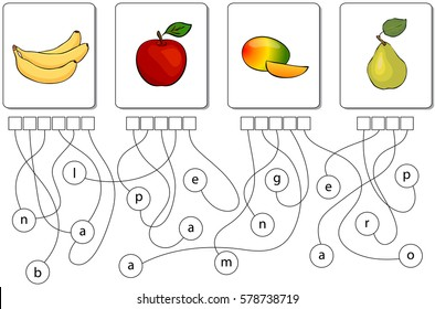 Educational puzzle game for kids. Find the hidden names of fruits and berries