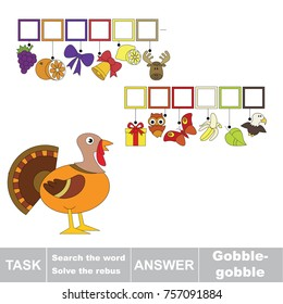 Educational puzzle game for kids. Find the hidden onomatopoeia word Gobble-gobble, the turkey voice