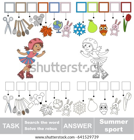 Educational Puzzle Game Kids Roller Girl Stock Vector Royalty Free