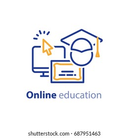 Educational resources vector line icon set, online learning courses, distance education, university degree, graduation hat, e-learning tutorials