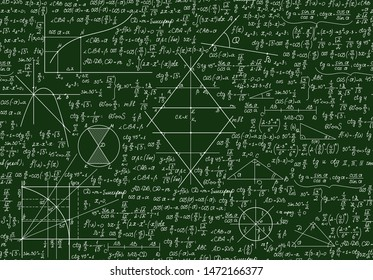 Educational school vector seamless pattern with math formulas, handwritten  on the green chalkboard