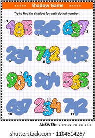 Educational shadow matching math puzzle or game for kids with colorful dotted numbers. Answer included.