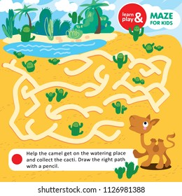 Educational task for children. Learn and play maze with instructions. Help baby camel get to oasis and collect all cacti. Use pen or marker for painting path. Vector isolated illustration. Hand draw