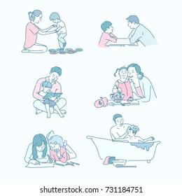 Educational ties between parents and children vector illustration flat design