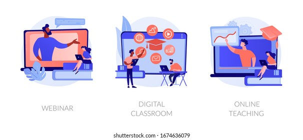 Educational web seminar, internet classes, professional personal teacher service icons set. Webinar, digital classroom, online teaching metaphors. Vector isolated concept metaphor illustrations - Shutterstock ID 1674636079