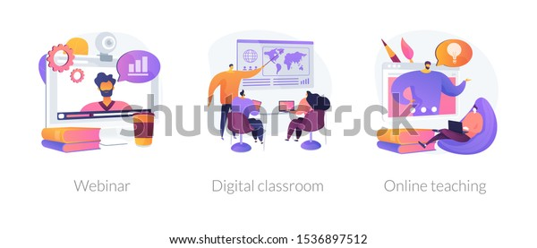 Educational web seminar, internet classes, professional personal teacher service icons set. Webinar, digital classroom, online teaching metaphors. Vector isolated concept metaphor illustrations
