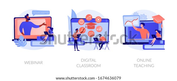 Educational web seminar, internet classes, professional personal teacher service icons set. Webinar, digital classroom, online teaching metaphors. Vector isolated concept metaphor illustrations