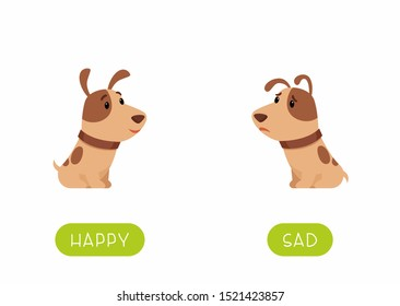 Educational word card with animals vector template. Flash card for english language learning with cute puppy. Opposites concept, happy and sad. Adorable little dog flat illustration with typography