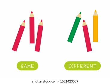 Educational word card for children vector template. Flash card for language studying with stationery items. Antonyms, diversity concept. Same and different pencils flat illustration with typography