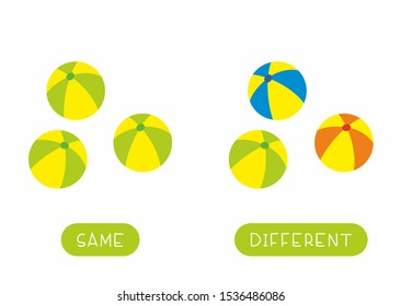 Educational word card for children vector template. Flash card for language studying with balls. Antonyms, diversity concept. Same and different toys flat illustration with typography