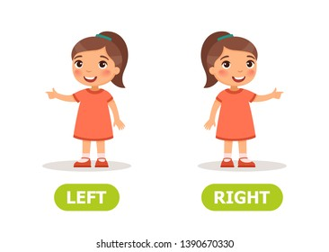 Educational word card with opposites. Antonyms concept, LEFT and RIGHT.  Flash card for English studying.  Little   girl points in different directions. Flat illustration with typography