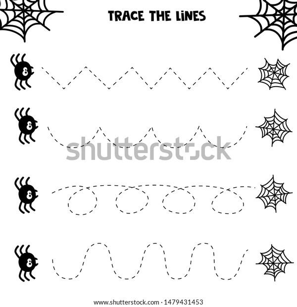 Educational Worksheet Kids Handwriting Practice Spider Stock ...