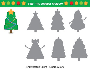 Educational worksheet for kids. Printable pages for preschool children. Christmas trees. Find correct shadow