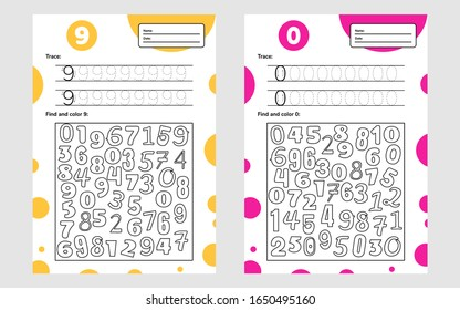 Educational worksheet for preschool and school kids. Number game for children. Trace, find and color. Nine and null. Vector illustration.
