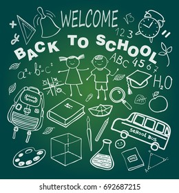 Education.Welcome Back to School. Background On Chalkboard With Icon Elements.Vector illustration.