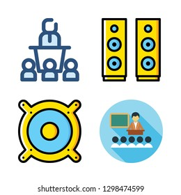 educator icon set. vector set about conference, lecture and speaker icons set.