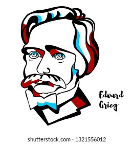 Edvard Grieg engraved vector portrait with ink contours. Norwegian composer and pianist.