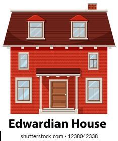 Edwardian house on white background illustration