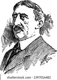 Edwin Anderson Alderman 1861 to 1931 he was president of the university of north Carolina Tulane University and the university of Virginia vintage line drawing or engraving illustration