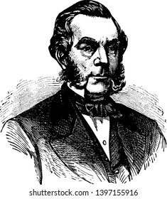 Edwin Dennison Morgan 1811 to 1883 he was the 21st governor of New York from 1859 to 1862 and United States senator from 1863 to 1869 vintage line drawing or engraving illustration