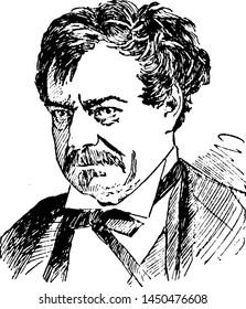 Edwin Forrest, vintage engraved illustration