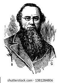 Edwin M. Stanton, 1814-1869, he was an American lawyer, politician, secretary of war, and United States attorney general, vintage line drawing or engraving illustration