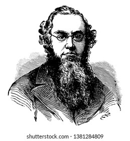 Edwin McMasters Stanton, 1814-1869, he was an American lawyer, politician, secretary of war, and United States attorney general, vintage line drawing or engraving illustration