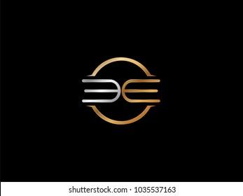 EE circle Shape Letter logo Design in silver gold color