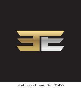 EE company linked letter logo golden silver black background