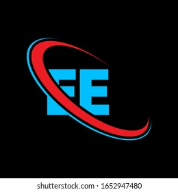 EE E E letter logo design. Initial letter EE linked circle upercase monogram logo red and blue. EE logo, E E design