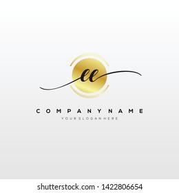 EE handwriting initial logo template vector.
