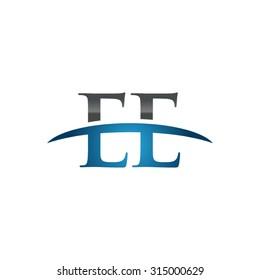 EE initial company blue swoosh logo