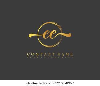 EE initial handwriting logo circle template vector