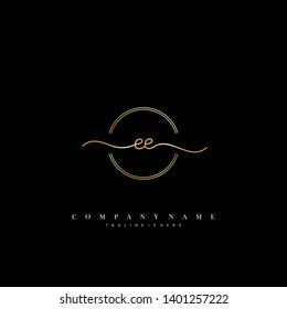 EE initial handwriting logo template vector