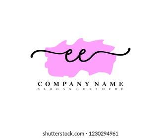 EE Initial handwriting logo vector
