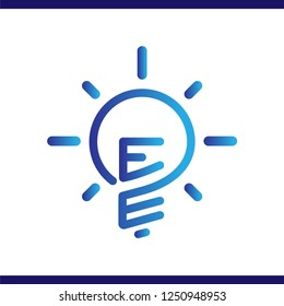 EE Initial Letter with creative bulb Logo vector element. Initial letter bulb Logo Template