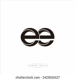 ee Initial Letter Split Lowercase Modern Monogram linked outline rounded logo
