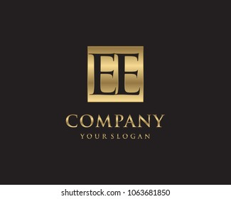 EE initial letters looping linked box elegant logo golden black background