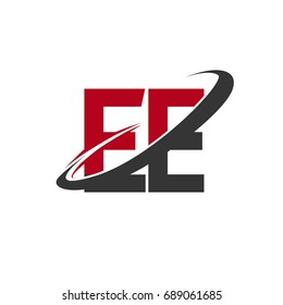 EE initial logo company name colored red and black swoosh design, isolated on white background. vector logo for business and company identity.