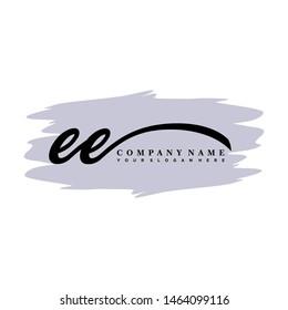 EE initial signature logo. handwriting logo template vector,