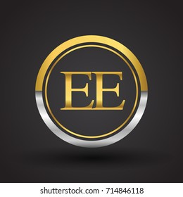EE Letter logo in a circle, gold and silver colored. Vector design template elements for your business or company identity.