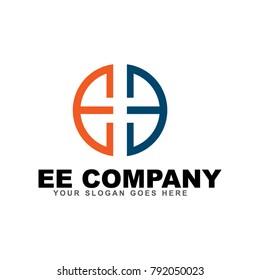 EE letter logo design vector template eps 10