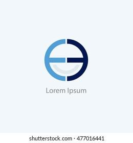 EE letters logo, O and E letter logo alphabet design.
