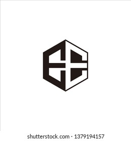EE Logo Initial Monogram Negative Space Designs Templete with Black color and White Background