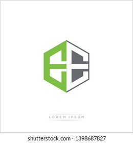 EE Logo Initial Monogram Negative Space Design Template With Green and Grey Color - Vector EPS 10