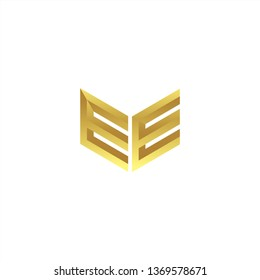 EE Logo letter initial 3d designs templete with gold colors