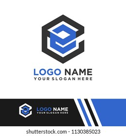 EE logo letter initial, Abstract polygonal Background Logo,