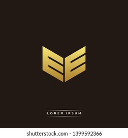 EE Logo Letter Initial Logo Designs Templete with Gold and Black Background