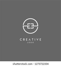 ee logo letter isolated with geometric circle shape creative design concept