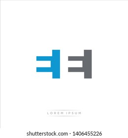 EE Logo Letter with Modern Negative space - Blue and Grey Color EPS 10